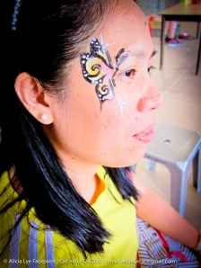 Pink Yellow Small Butterfly Face Paint | Singapore Professional Kids Face Painter