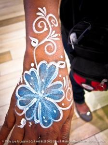 Blue Swirly Flower Hand Paint