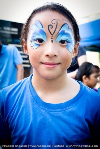 Blue butterfly face painting_happier singapore