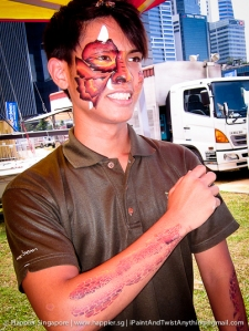Fire dragon face and hand painting_happier singapore