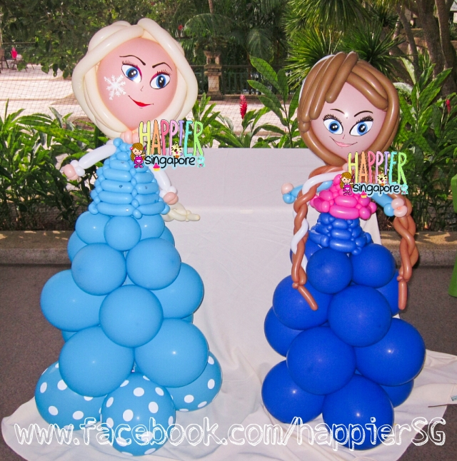 Frozen Princess Anna & Elsa Balloon Sculpture Happier Singapore