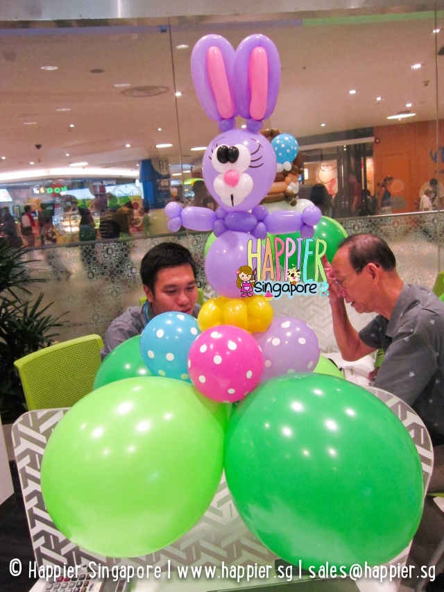 Purple easter rabbit balloon sculpture_happier singapore