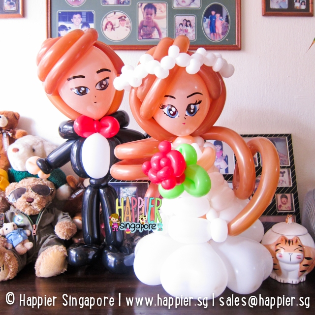 Wedding couple balloon sculpture_happier singapore