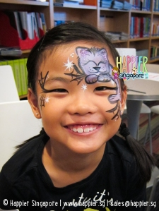 Halloween cat face painting Happier Singapore