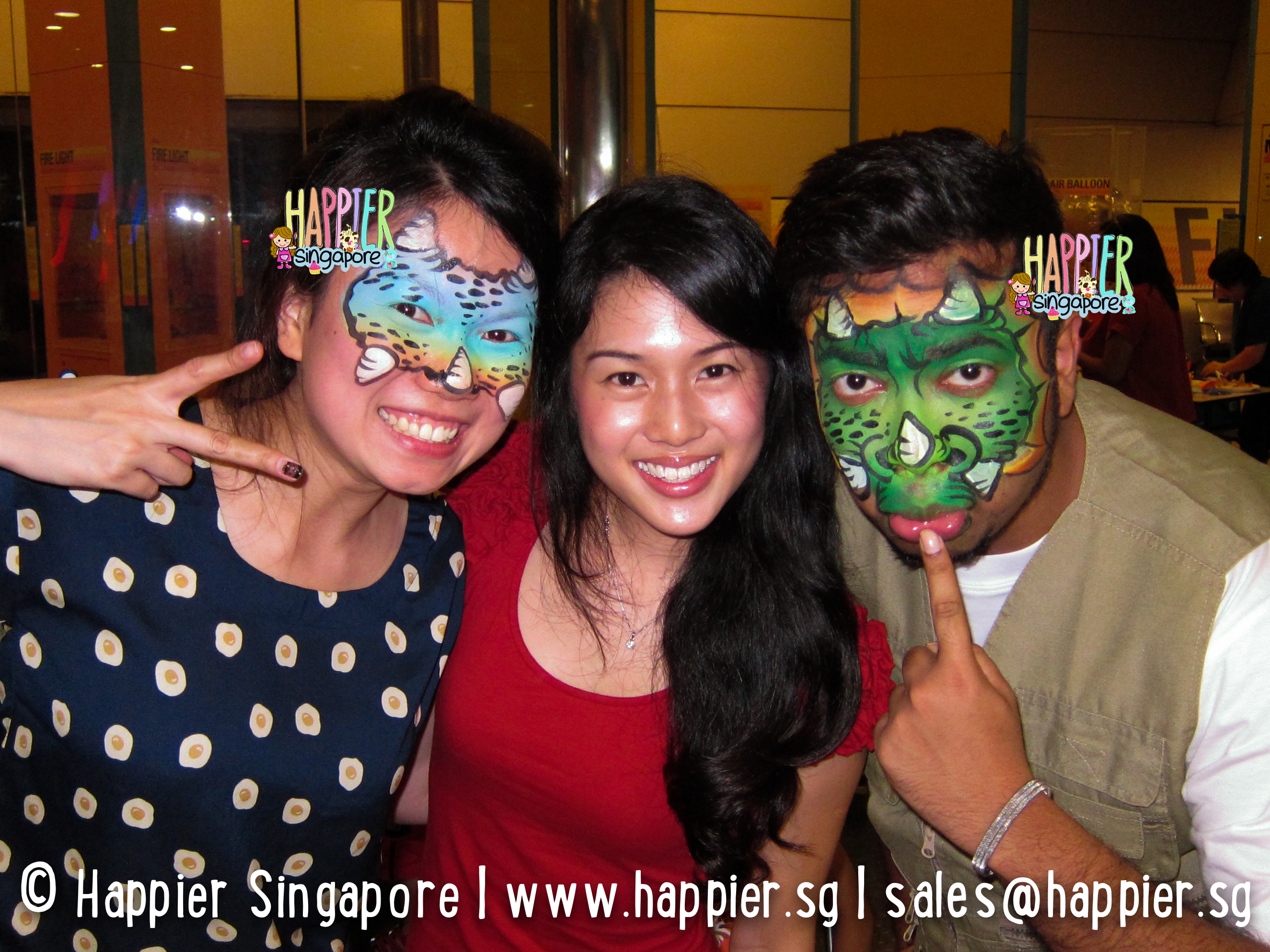 Hire the best halloween face painters in singapore face body halloween dinosaur face painting happier singapore sciox Images