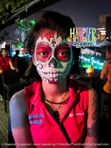 Halloween romantic sugarskull face painting Happier Singapore