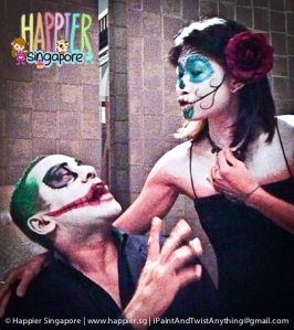 Halloween Sugarskull & Joker face painting design