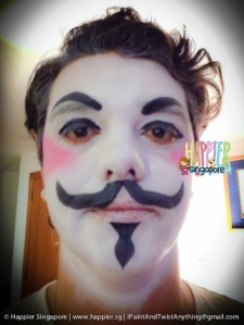 Halloween V for Vendetta face painting