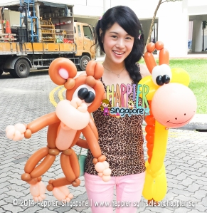 Safari Monkey Giraffe Balloon Sculpture Happier Singapore