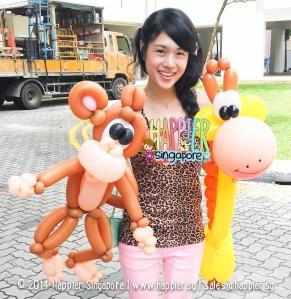 Safari Monkey Giraffe Balloon Sculpture Happier Singapore