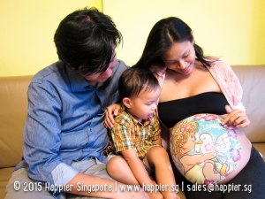 Belly painting maternity photoshoot happier singapore
