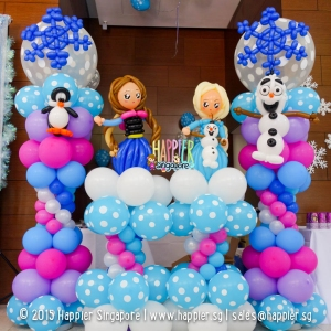 Frozen elsa anna olaf penguin balloon backdrop happier singapore