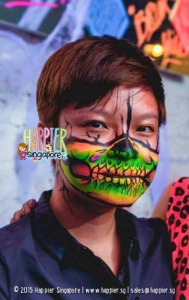 Glow half skull face painting happier singapore