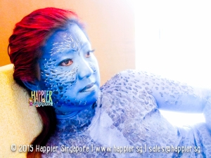 Mystique face body painting halloween happier singapore