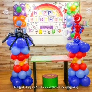 Spiderman Balloon columns happier singapore