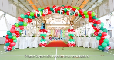 Wedding balloon arch bride groom sculptures happier singapore