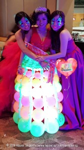 uv-glow-princess-balloon-gown-and-tiara-face-painting-balloon-sculpture-decoration
